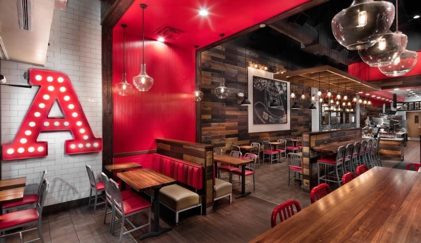 Photo of interior of Arby's Inspire restaurant design.